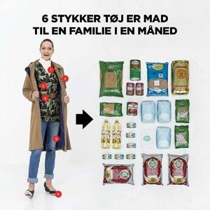 Billede der viser at seks stykker tøj, er mad til en familie i en måned.